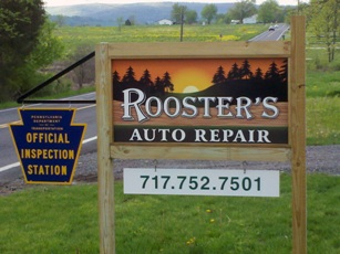 Rooster's Auto Repair Sign